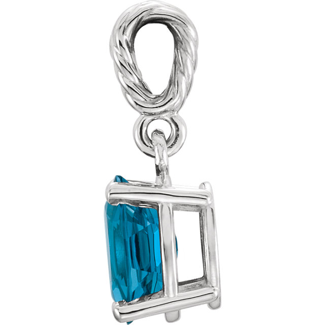 14K White London Blue Topaz Pendant