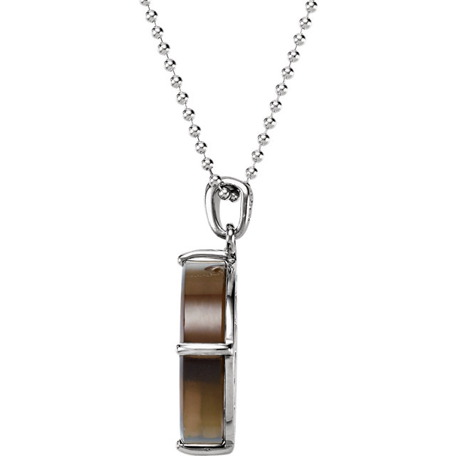 Sterling Silver Smoky Quartz & Clear Quartz Pendant