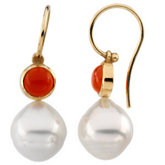South Sea Cultured Pearl & Carnelian Earrings