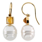 South Sea Cultured Pearl & Citrine Earrings