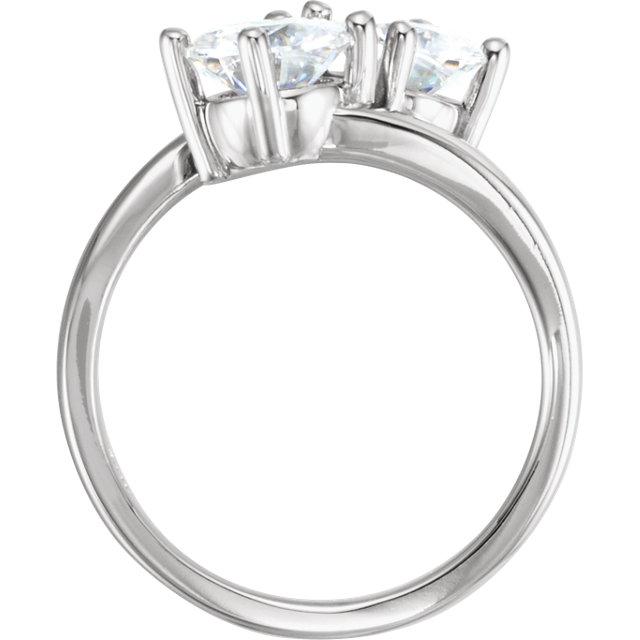 14K White Forever One™ Moissanite Two-Stone Ring
