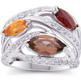 Smoky Quartz, Citrine, Madeira Citrine & Diamond Accented Ring