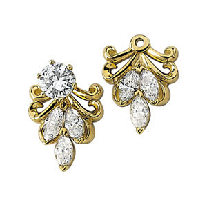 Earring Jackets, 14K Yellow 3/4 CTW Diamond Earring Jackets