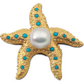 South Sea Cultured Pearl & Genuine Turquoise Starfish Brooch