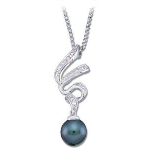 Tahitian Black Pearl and Diamond Pendant