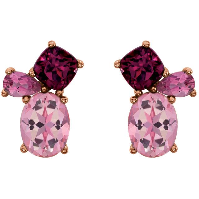 14K White Baby Pink Topaz, Rhodolite Garnet & Pink Tourmaline Earrings
