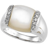 Mother of Pearl & Diamond Accented Ring