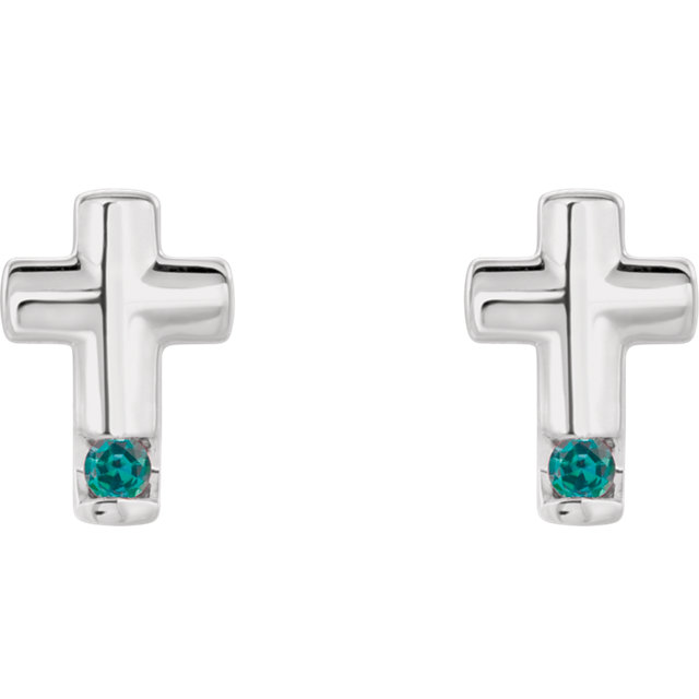 14K White Alexandrite Cross Earrings