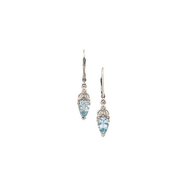 14K White Aquamarine & Diamond Earrings