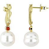 South Sea Cultured Pearl & Red Coral Earrings