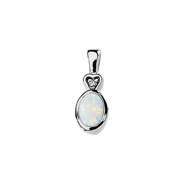 14K White Opal & .02 CTW Diamond Bezel-Set Pendant