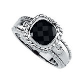 Onyx & Diamond Accented Rope Design Ring
