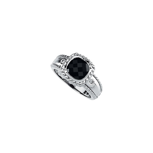 14K White Onyx & .05 CTW Diamond Rope Desgin Ring