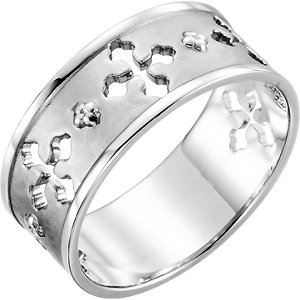 Religious Rings, 14K White Pierced Cross Ring