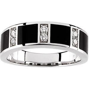 14K White Onyx & 1/4 CTW Diamond Band Size 11