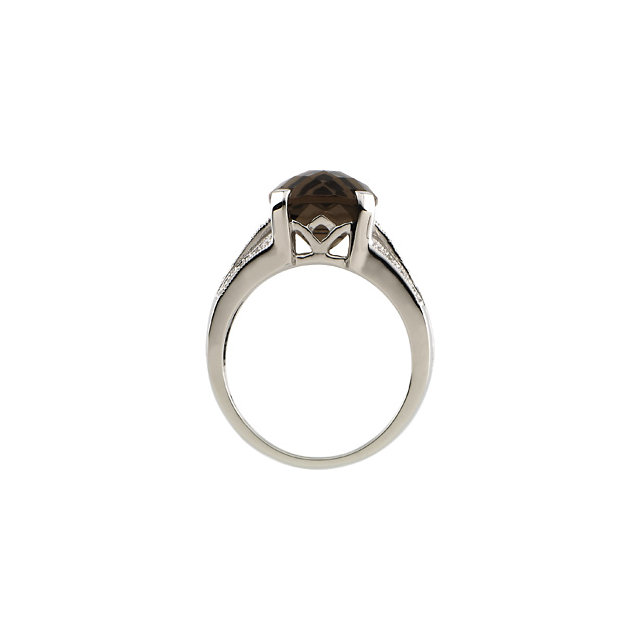 14K White 1/10 CTW Diamond & 10x10 mm Smoky Quartz Ring