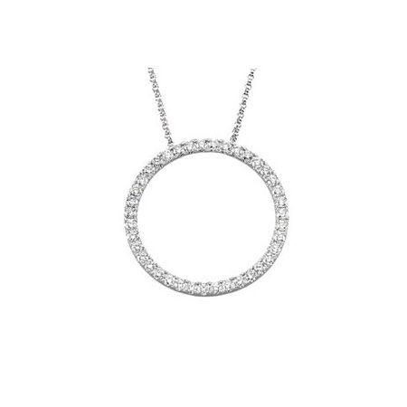 14K White 1 CTW Diamond Circle 18