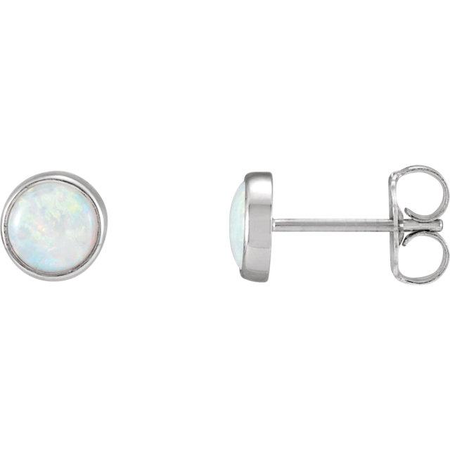 14K White Bezel-Set Opal Earrings