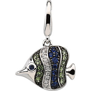 Charm / Pendant, Genuine Multicolor Gemstone & Diamond Tropical Fish Charm