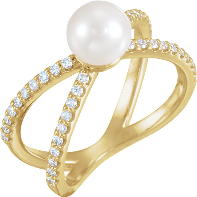 14K Yellow Freshwater Cultured Pearl & 1/3 CTW Diamond Ring