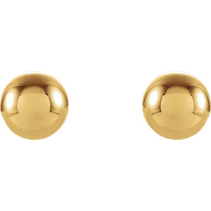 14K Yellow 6mm Round Ball Earrings