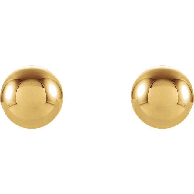 14K Yellow 3 mm Round Ball Earrings