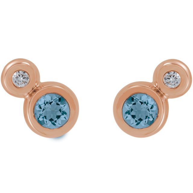 14K Rose Aquamarine & .03 CTW Diamond Earrings
