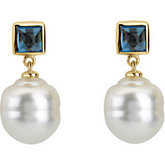 South Sea Cultured  Pearl & London Blue Topaz Earrings