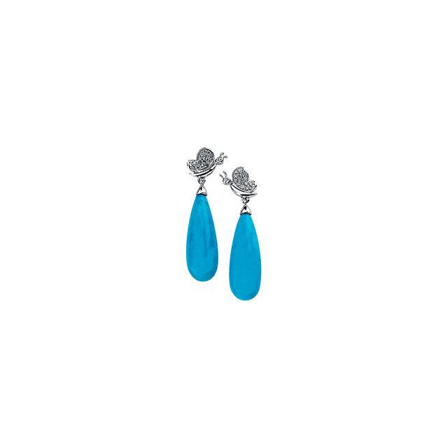 14K White Turquoise & 1/6 CTW Diamond Earrings