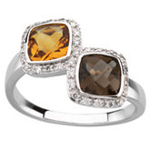 Genuine Checkerboard Citrine, Smoky Quartz & Diamond Ring