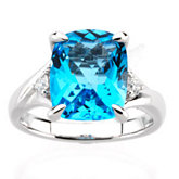 Swiss Blue Topaz & Diamond Accented Ring