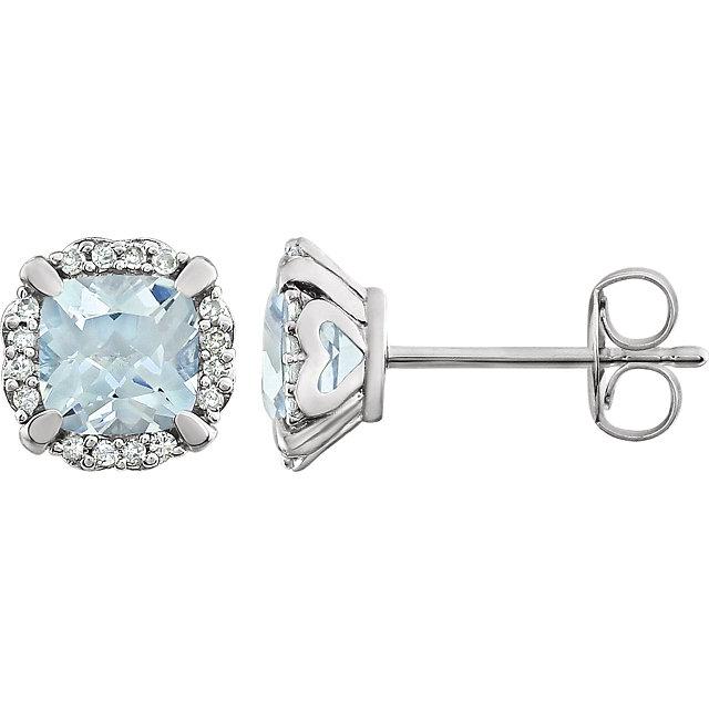 14K White Aquamarine & 1/10 CTW Diamond Earrings