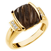 Carved Smoky Quartz & Diamond Accented Ring