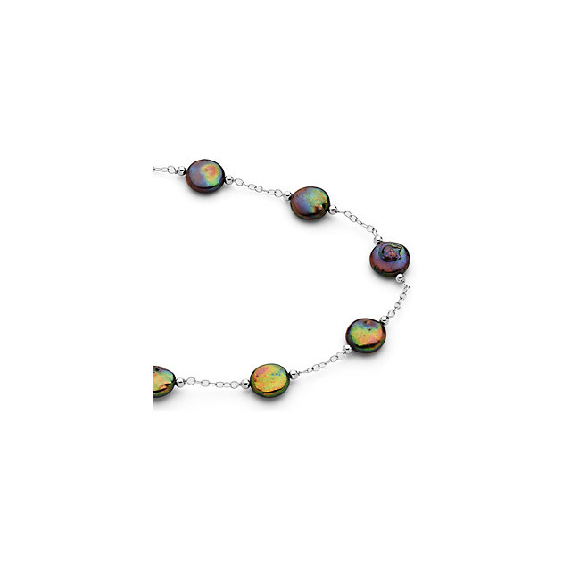 Sterling Silver Freshwater Cultured Black Coin Pearl 38