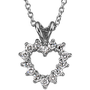 Pendant,  Platinum Diamond Heart Pendant