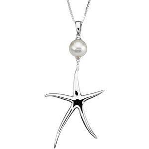 Sterling Silver Freshwater Cultured Pearl Starfish Necklace