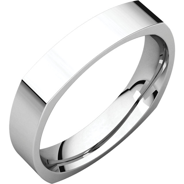 Platinum 4mm Square Comfort-Fit Band