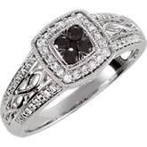 Black Spinel & Diamond Ring