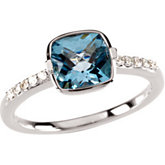 Swiss Blue Topaz & Diamond Accented Ring or Semi-mount