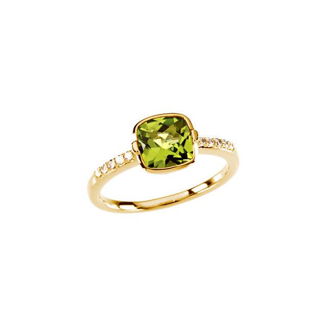 14K Yellow Checkerboard Peridot & 1/10 CTW Diamond Ring Size 7