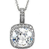 Cubic Zirconia Halo-Style Necklace