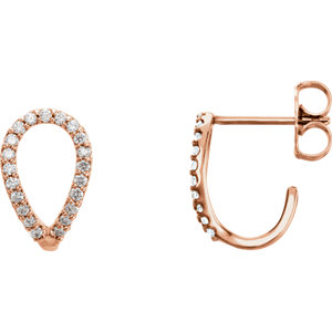 14K Rose 1/5 CTW Diamond Geometric J-Hoop Earrings