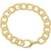 10.75mm Sterling Silver Gold Plated Link Bracelet
