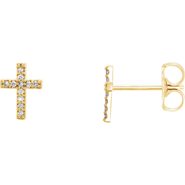14K Yellow .05 CTW Diamond Cross Earrings