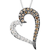 Brown & White Diamond Heart Necklace
