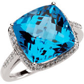 Swiss Blue Topaz & Diamond Halo Ring