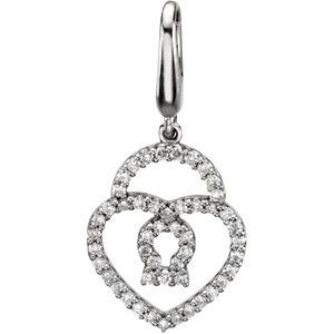 Charm / Pendant, Heart & Lock Charm