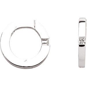 14K White .07 CTW Diamond Hoop Earrings