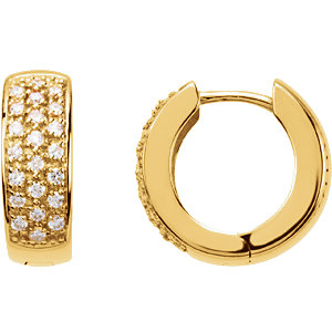14K Yellow 1/3 CTW Diamond Hoop Earrings