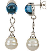 Aquarella® South Sea Cultured Pearl & London Blue Topaz Earrings or Semi-mount